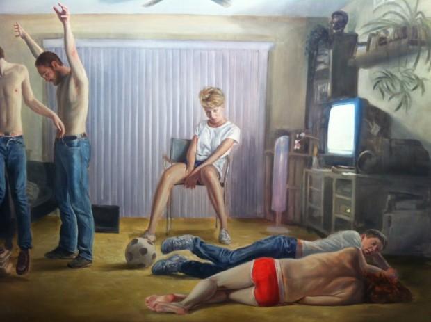 Pintura da dupla Muntean & Rosenblum, na galeria Horrach Moya, de Palma de Mallorca, na Espanha