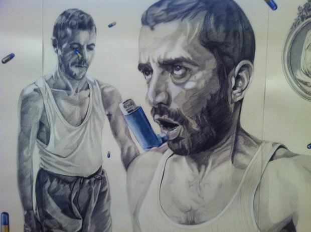 Desenho do tunisiano Atef Maatallah, na galeria Elmarsa, de Túnis