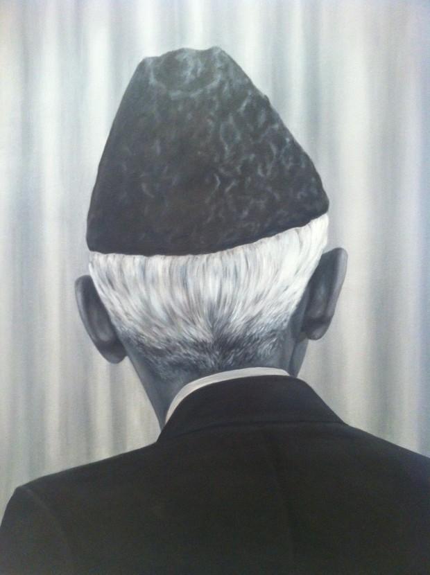 Pintura do artista paquistanês Ayaz Jokhio, na galeria Canvas, de Carachi