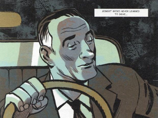 Robert Moses ilustrado por Olivier Balez em HQ de Pierre Christin