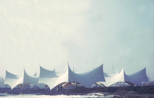 Pavilhão desenhado por Frei Otto em 1963 para a International Garden Exhibition, em Hamburgo