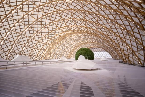 Pavilhão japonês da Expo 2000, obra realizada por Frei Otto em 2000, em Hannover