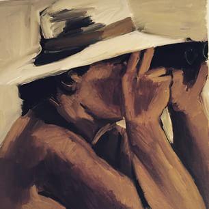 Pintura de Lynette Yiadom-Boakye, na Bienal de Charjah