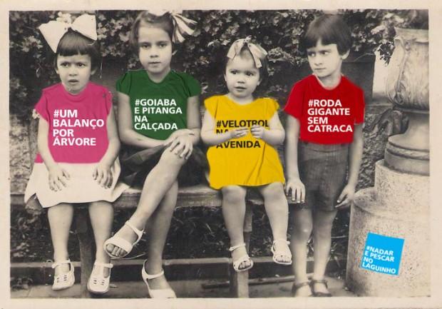Fotomontagem com camisetas criadas pelo coletivo Piseagrama