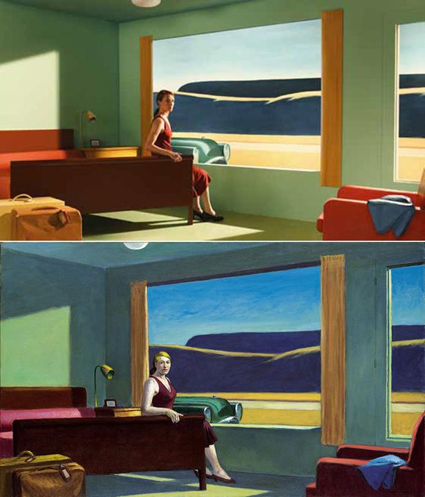 Versão de 'Western Motel' no filme de Gustav Deutsch e original de Edward Hopper