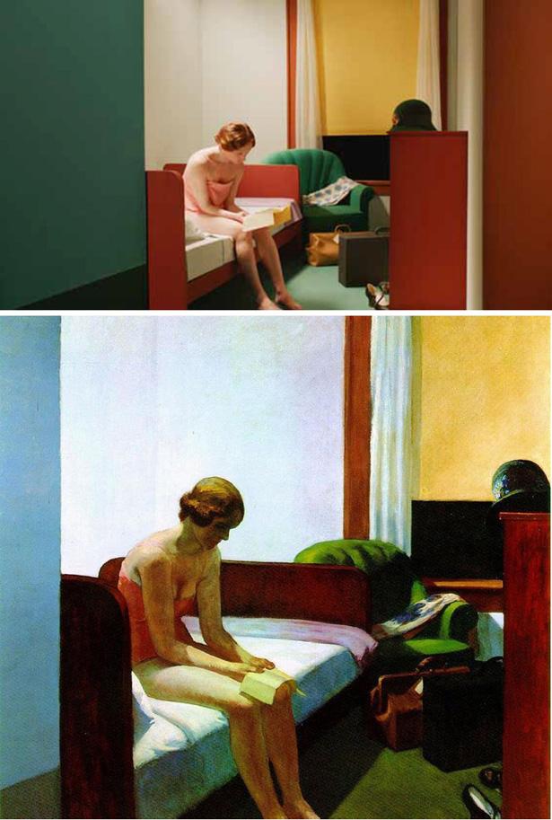 Versão de 'Hotel Room' no filme de Gustav Deutsch e original de Edward Hopper