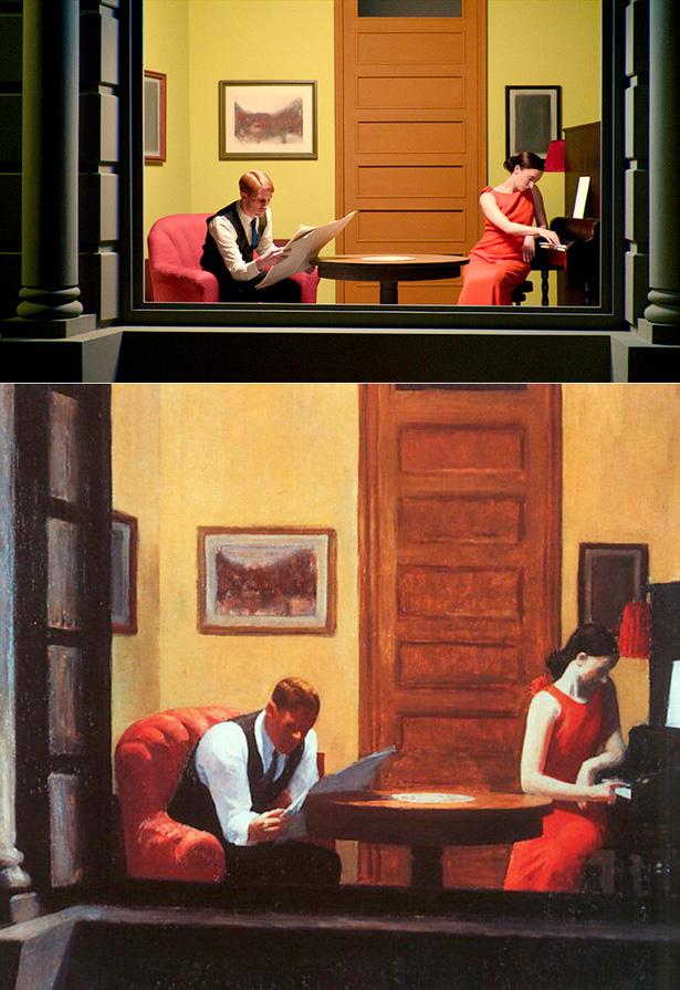 Versão de 'New York Room' no filme de Gustav Deutsch e original de Edward Hopper