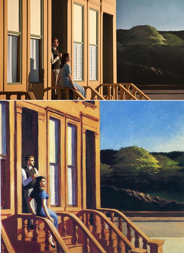 Versão de 'Sunlight on Brownstones' no filme de Gustav Deutsch e original de Edward Hopper