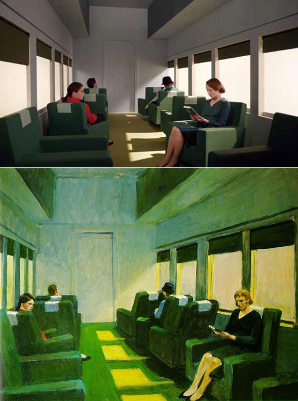 Versão de 'Chair-Car' no filme de Gustav Deutsch e original de Edward Hopper