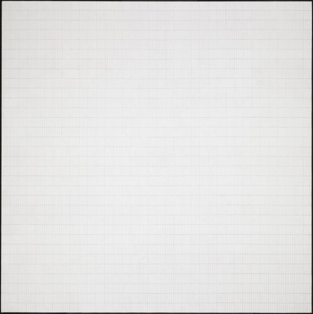 'Morning', tela de Agnes Martin em sua retrospectiva na Tate Modern, em Londres
