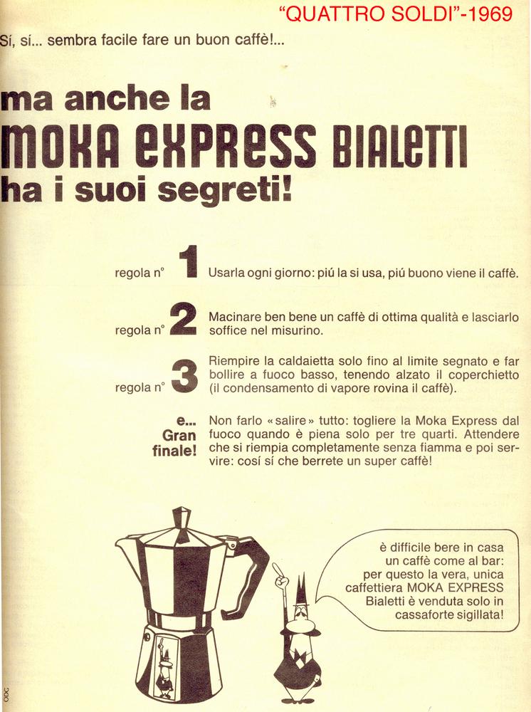 Anúncio da cafeteira Bialetti de 1969