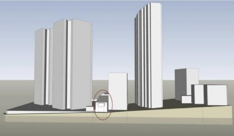 Perspectiva de como deve ficar o Teatro Oficina junto às novas torres