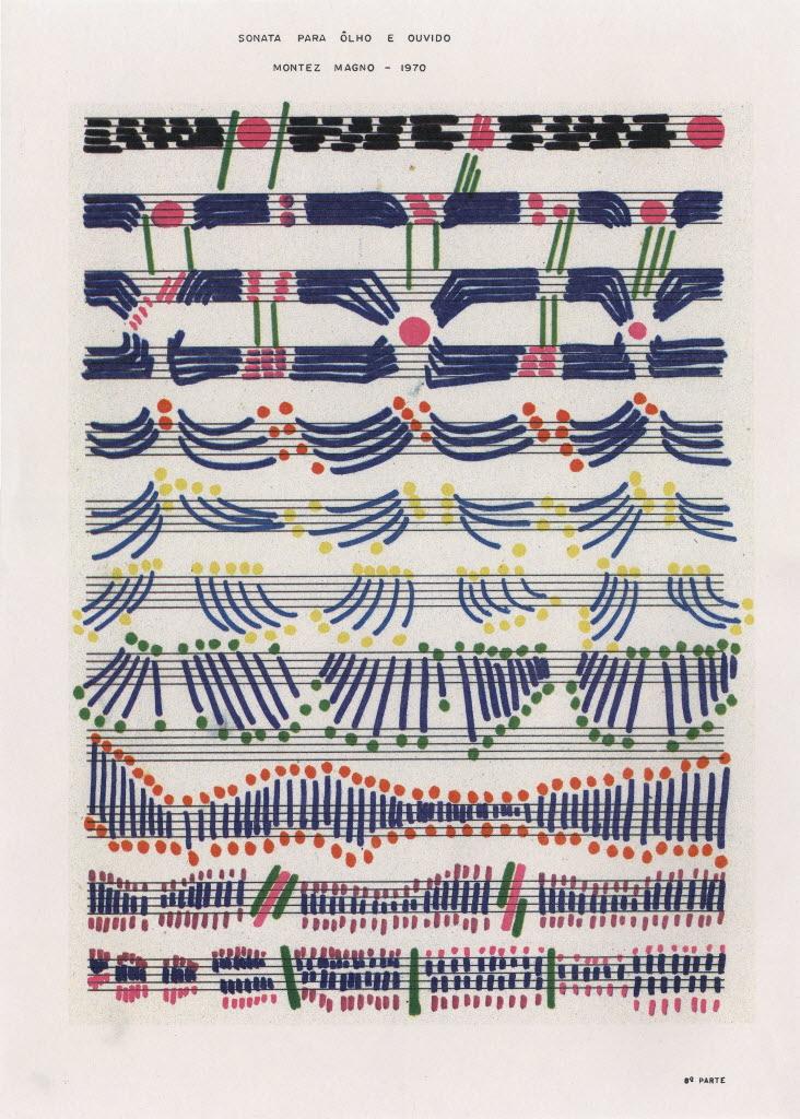 Uma das partituras de Montez Magno em mostra na galeria Pilar